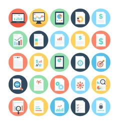 Reports and analytics colored icons 3 vector