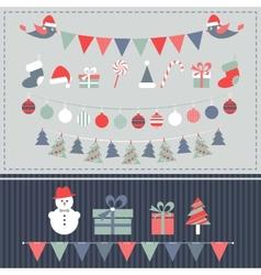 Retro Christmas elements set vector