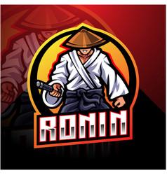 ronin esport mascot logo design vector image