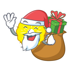 santa with gift pineapple slice isolated on mascot vector image
