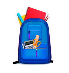 school backpack stationery composition vector image