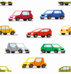 Seamless pattern with color cars vector