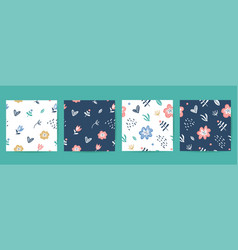 Seamless patterns set floral elements vector