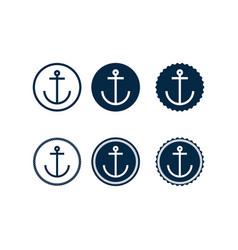 Set marine retro emblems logo with anchor vector