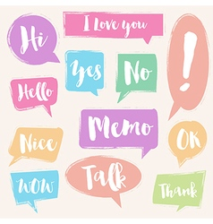Set of painted brush style bubble talk vector image