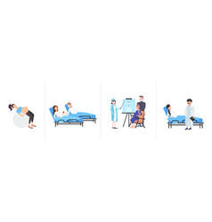 set pregnant women with belly different medicine vector image