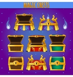 set wooden chests different colors vector image