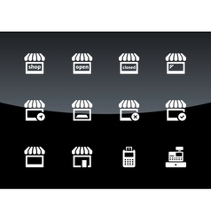 Shop icons on black background vector image vector image