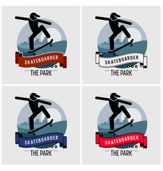 skateboarder club logo design artwork vector image