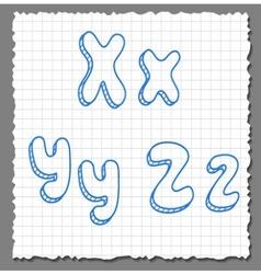 sketch 3d alphabet letters -xyz vector image