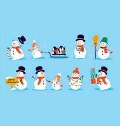 snowman character cartoon collection christmas vector image