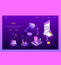 social media marketing - modern isometric vector image
