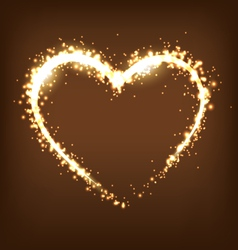 Sparkling heart on brown vector image