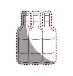 Sticker line tasty wine bottles beverage icon vector