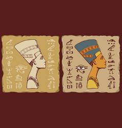 Tiles with egyptian queen nefertiti vector