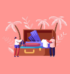 tiny characters take out traveling clothes and vector image