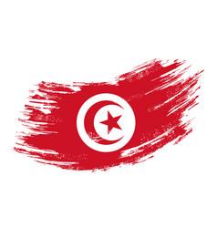 Tunisian flag grunge brush background vector