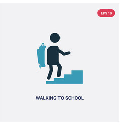 Two color walking to school icon from people vector