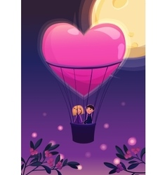Two lovers in a balloon on the moon background vector image