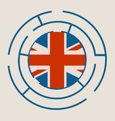 united kingdom flag in the labyrinth vector image