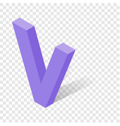 v letter in isometric 3d style with shadow vector image