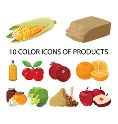 Vegetables sweets butter fruits berries vector
