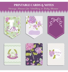 Vintage Flowers Card Set - for party design vector image
