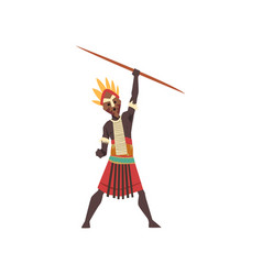 Warlike black native man african tribe holding vector
