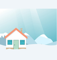 Winter resort mountain landscape with house vector