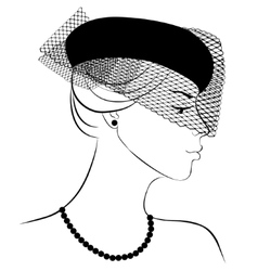 Woman in hat with veil vector image