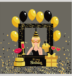 Woman with birthday framework and balloons vector