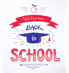 back to school lettering poster vector image vector image
