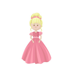 beautiful blonde soft princess doll in a pink vector image