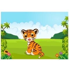 Cartoon cute baby tiger vector image vector image