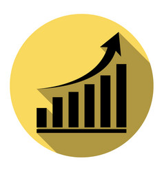 growing graph sign flat black icon with vector image
