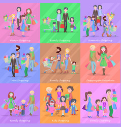 Set of different kinds of shopping in stores vector