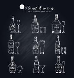 alcoholic beverages monochrome icons set vector image