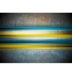 Glowing colorful stripes on grunge wall background vector image