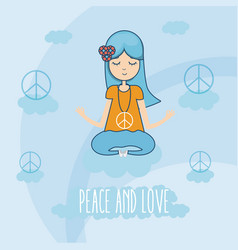 Hippie cute cartoon vector