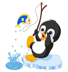penguin fishing vector image