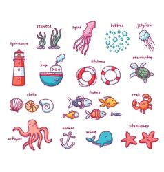 Sea doodles set vector image