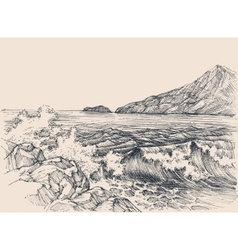 Sea waves breaking on rocky shore vector image