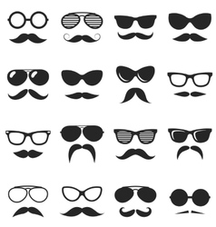 Set of black hipster mustache and glasses vector image