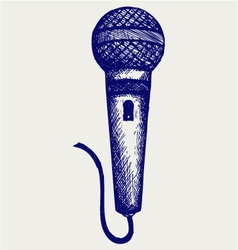 Sketch microphone vector image