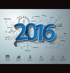 Tags label 2016 text on drawing business success vector image vector image