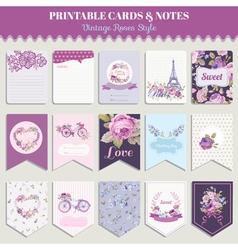 Vintage Flowers Card Set - for party design vector image
