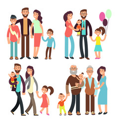 happy active family cartoon people vector image