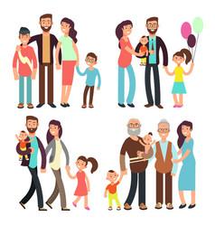 happy active family cartoon people vector image vector image