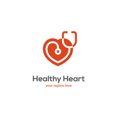 heart logo with stethoscope vector image vector image