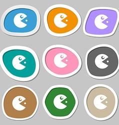 pac man icon symbols Multicolored paper stickers vector image vector image